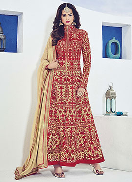 Ae Dil Hai Mushkil Beige N Red Anarkali Suit