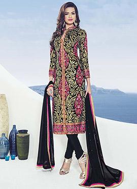 Ae Dil Hai Mushkil Black N Pink Churidar Suit