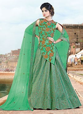 Ae Dil Hai Mushkil Fern Green Umbrella Lehenga