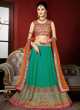 Ae Dil Hai Mushkil Green Umbrella Lehenga Choli