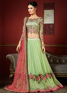 Ae Dil Hai Mushkil Moss Green Umbrella Lehenga Choli
