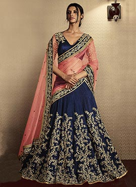 Ae Dil Hai Mushkil Navy Blue Umbrella Lehenga Choli