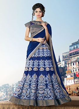 Ae Dil Hai Mushkil Navy Blue Umbrella Lehenga