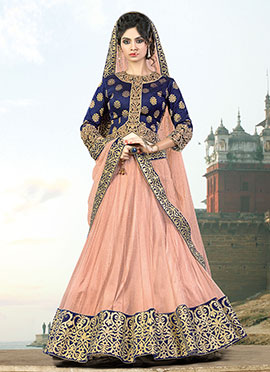 Ae Dil Hai Mushkil Peach Umbrella Lehenga