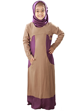 Afreen Brown N Purple Rayon Kids Abaya
