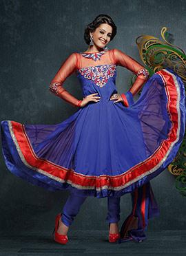 Alluring Natassha Blue Georgette Anarkali Suit