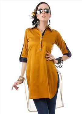Alluring ochre silk cotton kurti