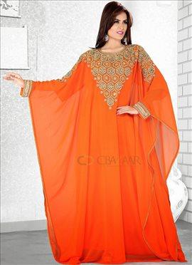 Alluring Orange Farasha Fustan