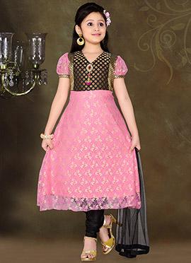 Alluring Pink Net Teens Anarkali Suit