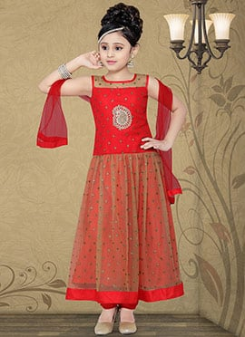 Alluring Red Ankle Length Teens Anarkali Suit