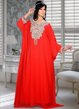 Alluring Red Georgette Fustan