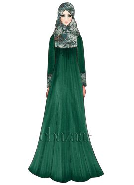 Alpine Green Georgette Abaya