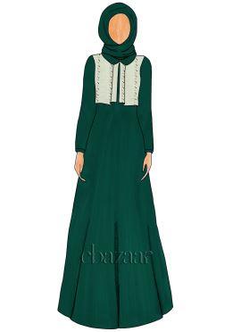 Alpine Green Georgette Peter Pan Collar Abaya