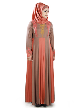 Amani Rayon Peach N Brown Abaya