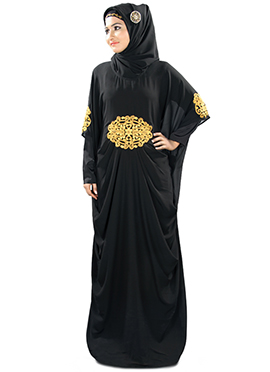 Amara Gold Embroidered Black Fustan