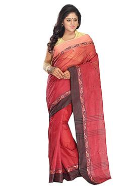 Amaranth Red Blended Cotton Tangail Saree