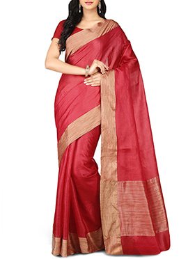 Amaranth Red Pure Silk Border Saree