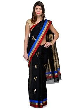 Amber Fabs Black Pure Chanderi Silk Saree