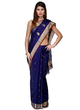 Amber Fabs Blue Pure Chanderi Silk Saree