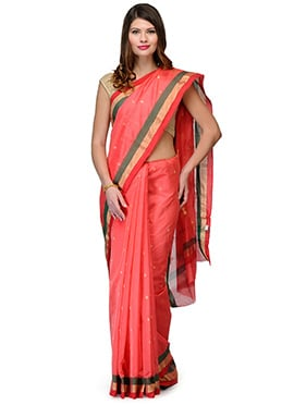 Amber Fabs Coral Red Pure Chanderi Silk Saree