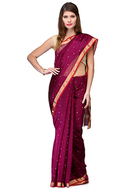 Amber Fabs Deep Magenta Pure Chanderi Silk Saree
