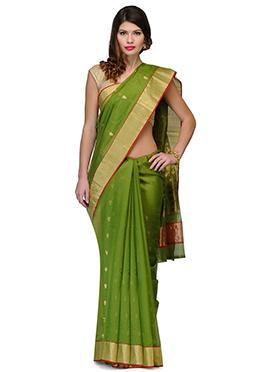 Amber Fabs Green Pure Chanderi Silk Saree