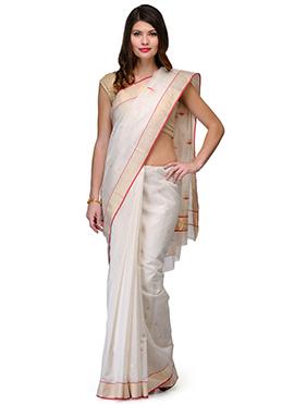 Amber Fabs Off White Pure Chanderi Silk Saree