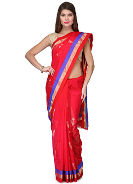 Amber Fabs Red Pure Chanderi Silk Saree