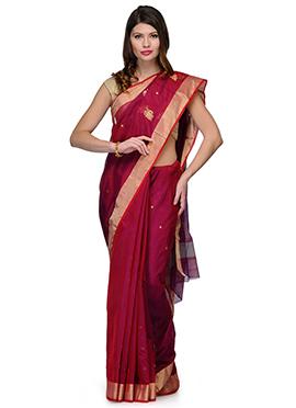 Amber Fabs Regal Red Pure Chanderi Silk Saree
