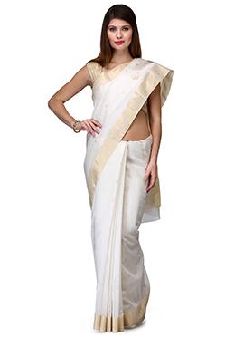 Amber Fabs White Pure Chanderi Silk Saree