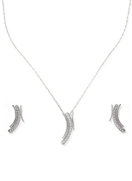 American Diamond Silver Chained Pendant Set