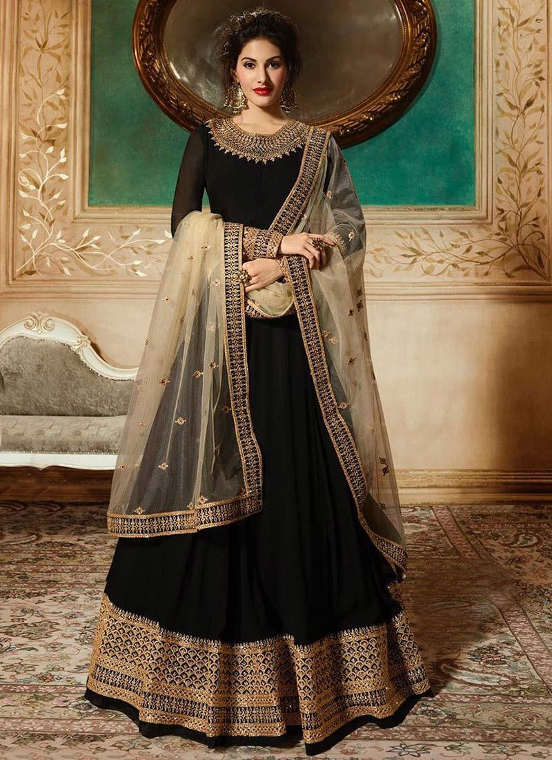 5610e7ce7e Buy Amyra Dastur Black Embroidered Anarkali Suit, Embroidered ...