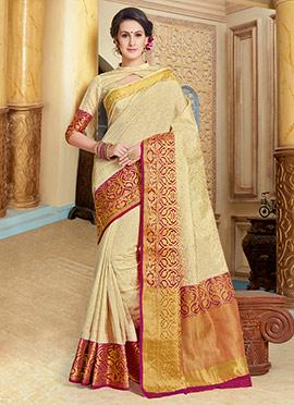 Amyra Dastur Cream Tussar Silk Saree