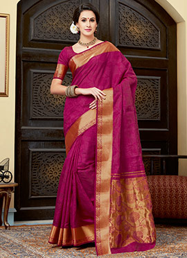 Amyra Dastur Magenta Tussar Silk Saree