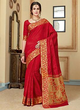Amyra Dastur Red Tussar Silk Saree