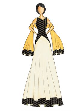 An Elegant Black Art Dupion Silk Top with a Cream Skirt that comes with a Net Dupatta