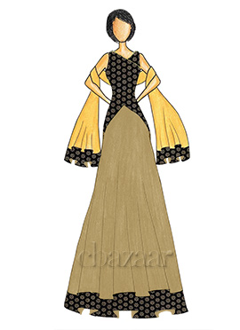 An Elegant Black Art Dupion Silk Top with a Gold Skirt that comes with a Net Dupatta