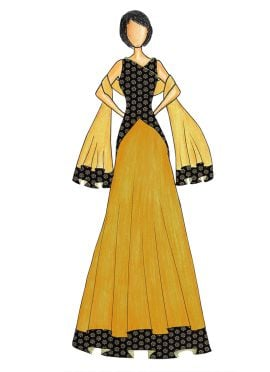 An Elegant Black Art Dupion Silk Top with a Mustard Skirt that comes with a Net Dupatta