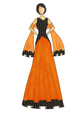 An Elegant Black Art Dupion Silk Top with a Orange Skirt that comes with a Net Dupatta