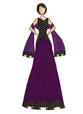 An Elegant Black Art Dupion Silk Top with a Purple Skirt that comes with a Net Dupatta