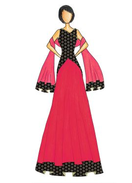 An Elegant Black Art Dupion Silk Top with a Rani Pink Skirt that comes with a Net Dupatta