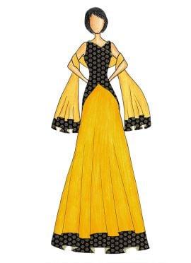 An Elegant Black Art Dupion Silk Top with a Yellow Art Dupion Silk Skirt that comes with a Net Dupat