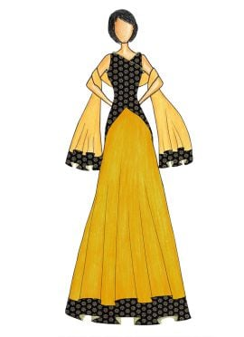 An Elegant Black Art Dupion Silk Top with a Yellow Raw Silk Skirt that comes with a Net Dupatta