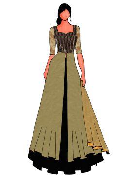 An Elegant Black N Brown Long Choli Lehanga