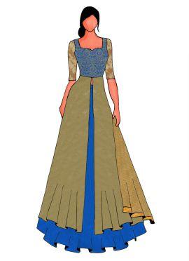An Elegant Blue Long Choli Lehanga