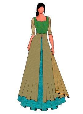 An Elegant Green Long Choli Lehanga