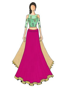 An Elegant Magenta Umbrella Lehanga with Mint Green Cold Shoulder Embroidered Top