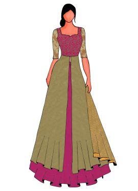 An Elegant Pink Long Choli Lehanga