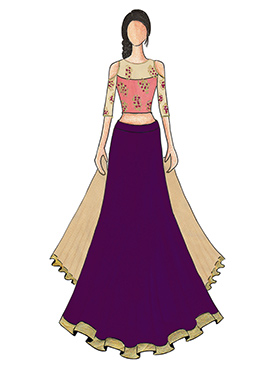 An Elegant Purple Umbrella Lehanga with Beige and Pink Cold Shoulder Embroidered Top