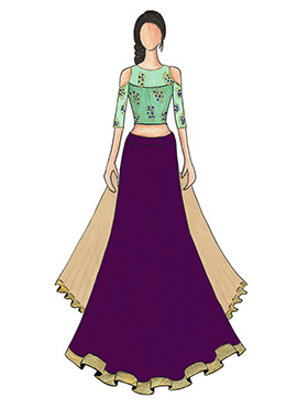 An Elegant Purple Umbrella Lehanga with Mint Green Cold Shoulder Embroidered Top